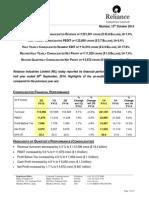 RIL Financial Results - FY 14-15, Q2