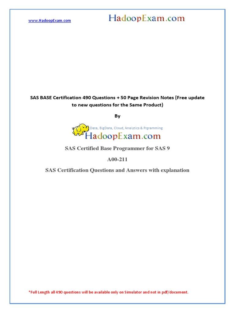 Sas Base Certification Questions Dumps A00 211 Sas Software