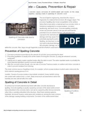 Spalling of Concrete – Causes, Prevention & Repair