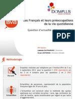 Les Français et leurs préoccupations de la vie quotidienne - Baromètre DOMPLUS 2014