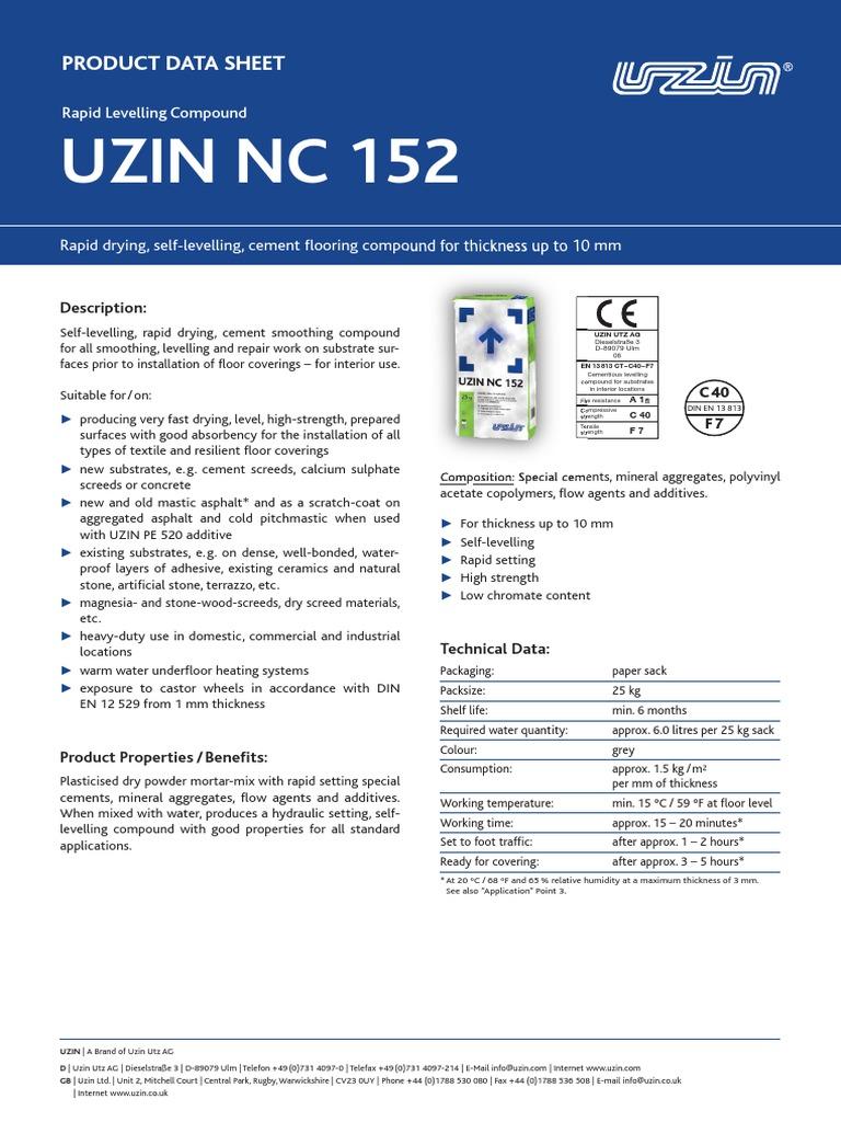 Uzin Nc 152: Product Data Sheet