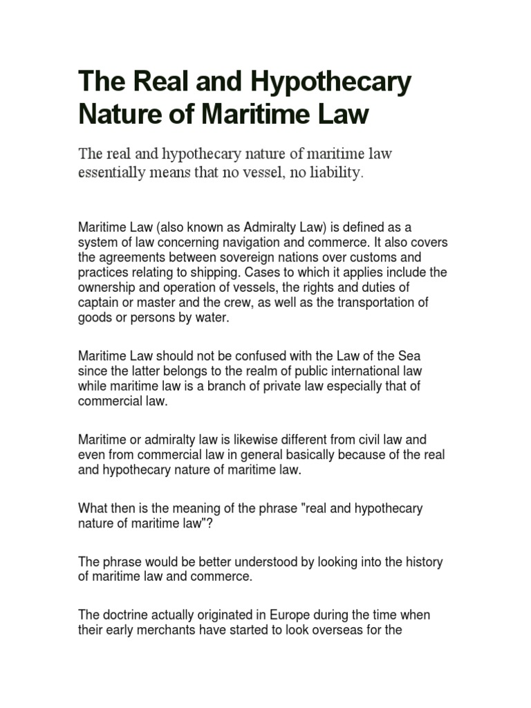 the real and hypothecary nature of maritime law | admiralty law