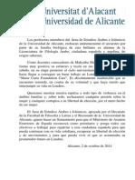 COMUNICADO PROFESORADO DEL ÁREA DE ESTUDIOS ÁRABES E ISLÁMICOS DE LA UNIVERSIDAD DE ALICANTE