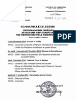 Programme Des Obseques de Mme Mbouatchang Nee Mengolo Rosette Marie