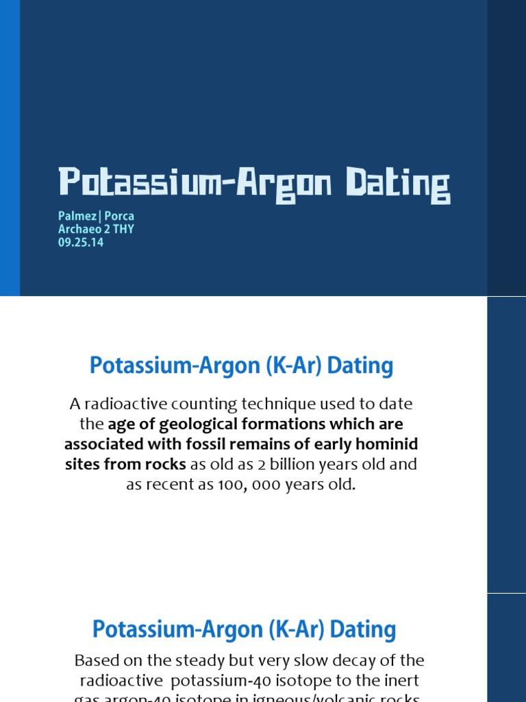 potassium argon dating used for