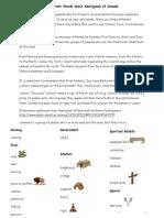 key aboriginal and pioneer vocabulary