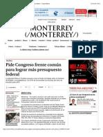 08-19-14 Pide Congreso frente común para lograr más presupuesto federal