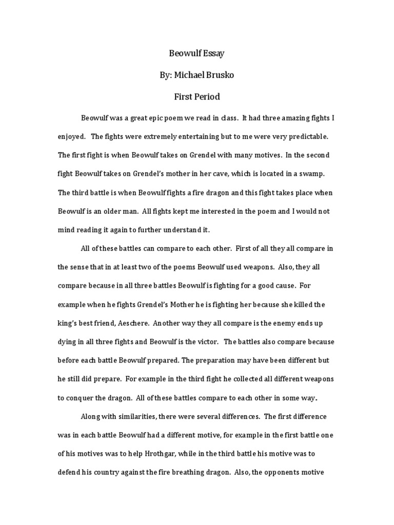 beowulf motifs essay example