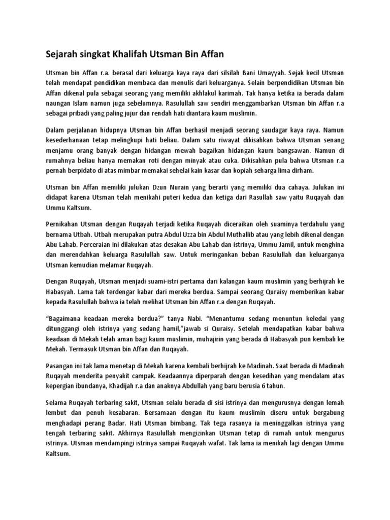 Sejarah Singkat Khalifah Utsman Bin Affan