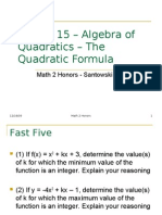 Lesson 15 – Algebra of Quadratics – the Quadratic Formula