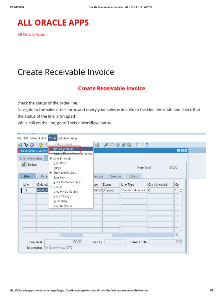 Create Receivable Invoice _ ALL ORACLE APPS | Oracle