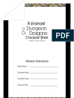Advanced Dungeons & Dragons character reference sheets
