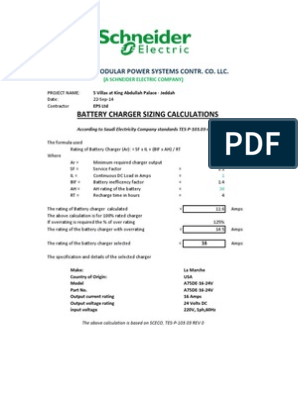 BATTERY CHARGER SIZING CALCULATION pdf