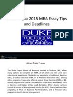 Duke Fuqua 2015 MBA Sample Essays, Tips and Deadlines