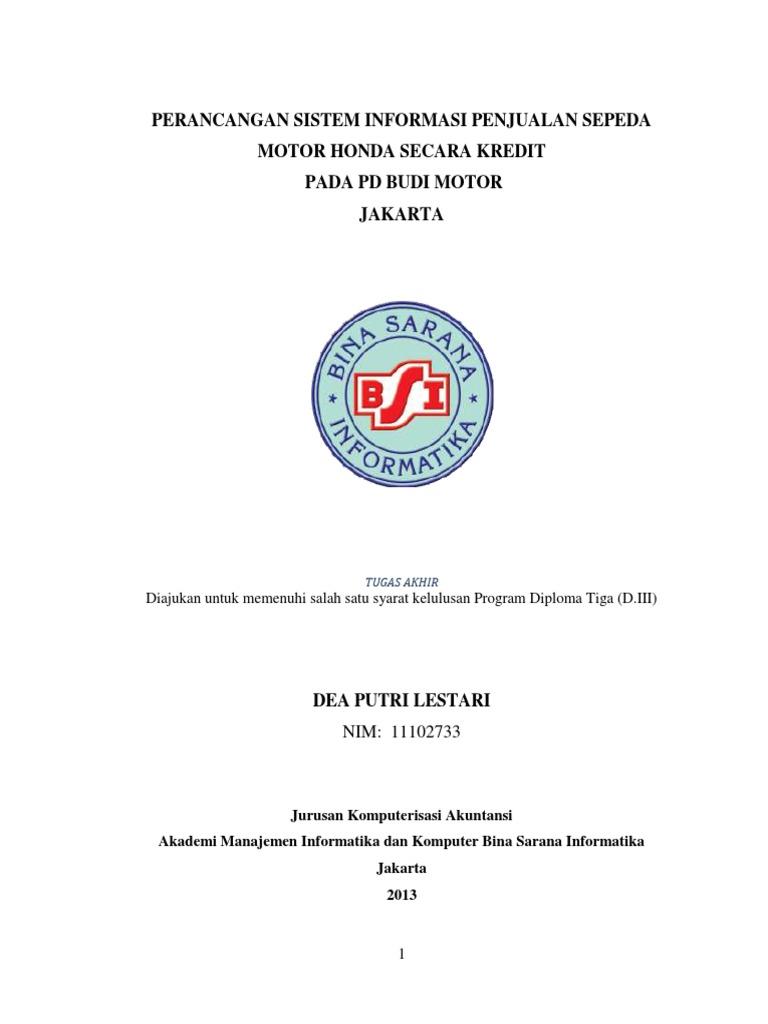 Perancangan sistem penjualan sepeda motor honda secara kredit ccuart Choice Image