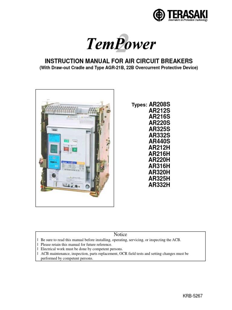 Terasaki Instruction Manual 21b Acb Switch Relay Circuit Breakers Types