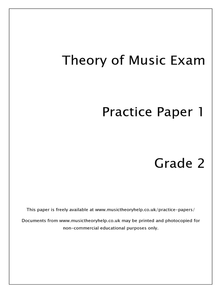 Music Theory Practice Paper Grade 2 Interval Music Scale Music