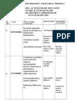 Planul Activitatilor Comisiei Dirigintilor