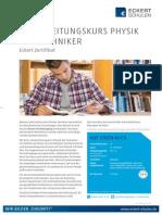 Datenblatt Vorbereitungskurs Physik für Techniker