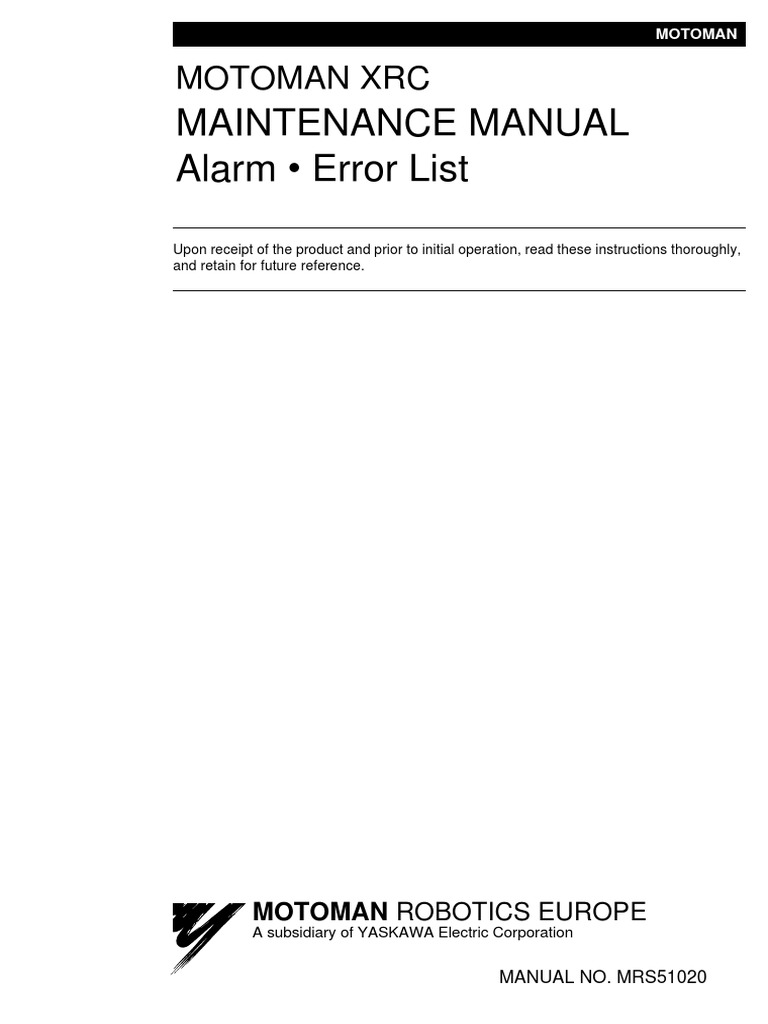 xrc maintenance manual alarm error list pdf electrical connector rh scribd com Motoman Robot Controllers Motoman 165 ES