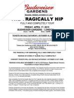 The Tragically Hip - April 17, 2015 - Budweiser Gardens