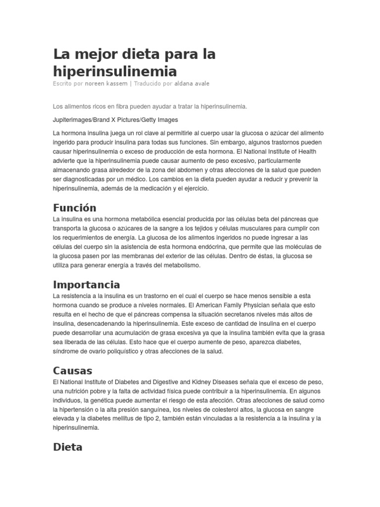 dieta para la hiperinsulinemial