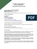 UT Dallas Syllabus for ims6360.501.09s taught by Seunghyun Lee (sxl029100)