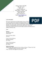 UT Dallas Syllabus for lit2341.002.09s taught by Shazia Ali (shazia)