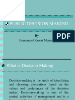 Introduction to Theories of Public Policy Decision Making