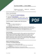 UT Dallas Syllabus for psy3392.501.09s taught by Betty-gene Edelman (bedelman)