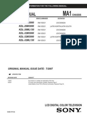 KDL-32M3000 Chasis MA1 pdf | Resistor | Transistor