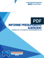 Tesoreria Informe de Ingresos y Egresos Septiembre 2014
