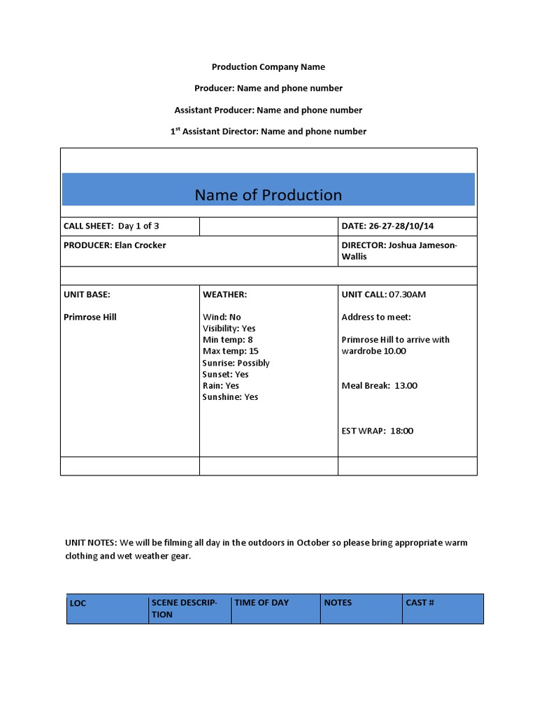 Film production call sheet environment leisure pronofoot35fo Gallery