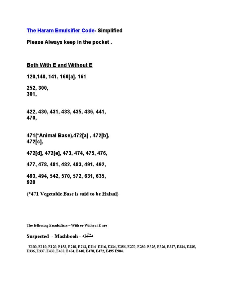 The Haram Emulsifier Code | Salt (Chemistry) | Fat