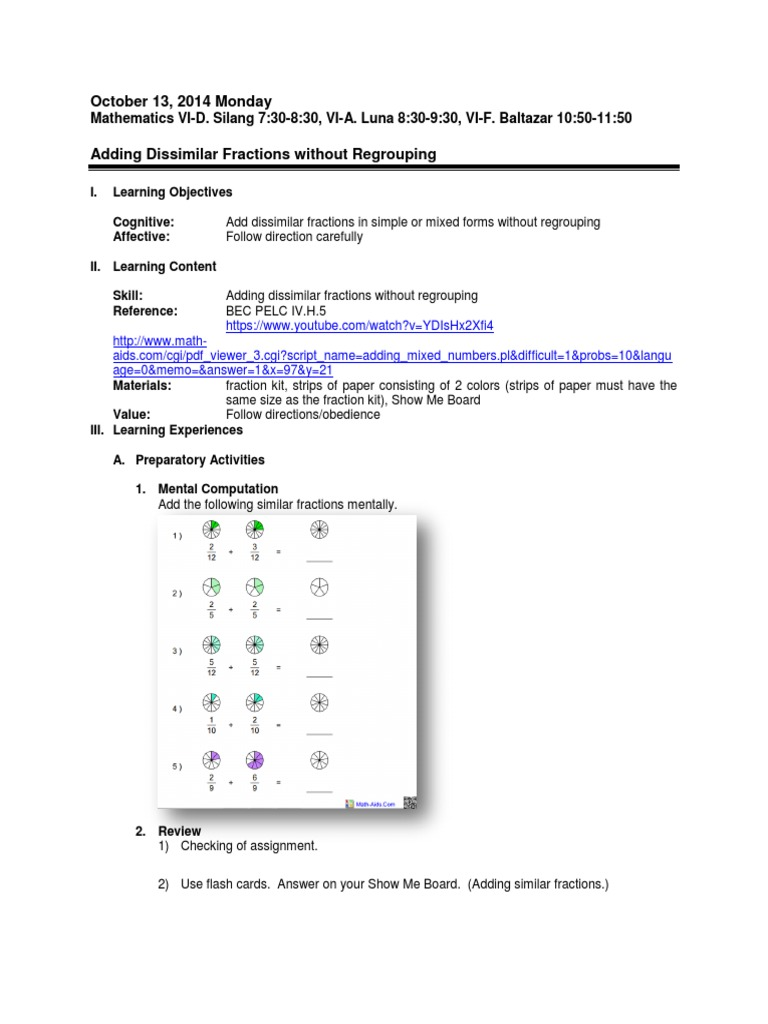 Lesson Plan On Adding Dissimilar Fractions Without Regrouping  Fraction  (mathematics)  Cognition