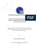 A Study on the Compliance of Manufacturing Company to the Factories and Machinery Act 1967-24 Pages