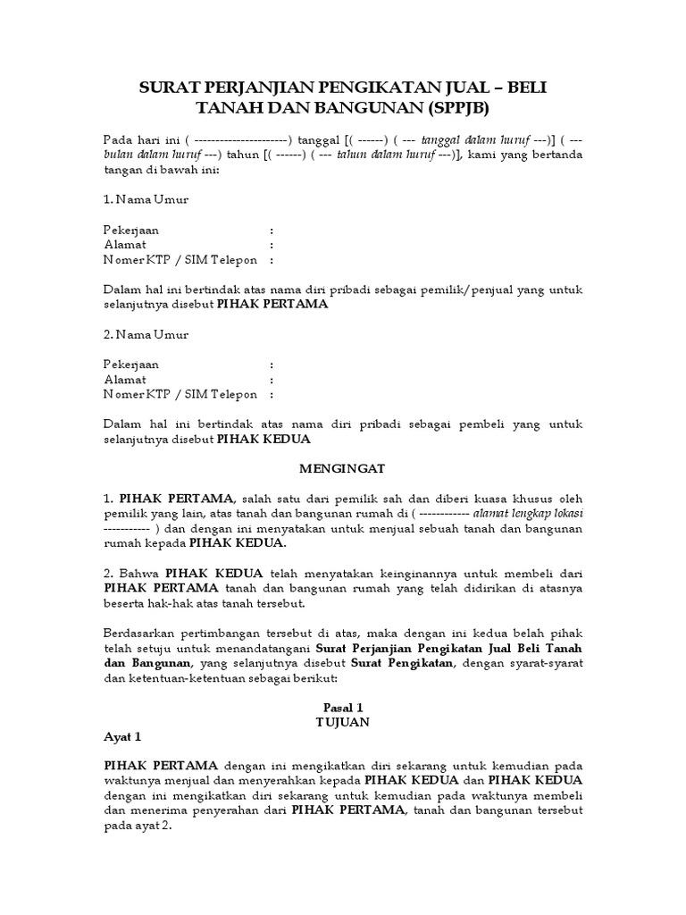 Contoh Surat Jual Beli Tanah Doc
