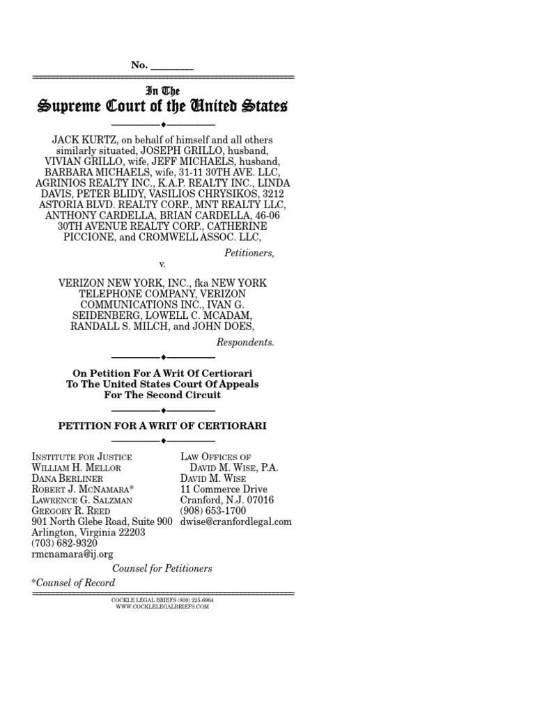 petition for a writ of certiorari kurtz v verizon new york inc