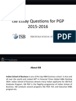ISB Essay Questions for PGP 2015-2016