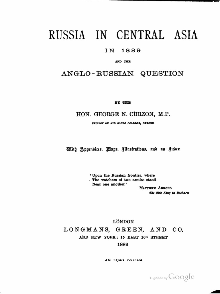 1889 Russia In Central Asia By George N Curzon S Pulsetriggered Mono Circuit Diagram Tradeoficcom International Politics