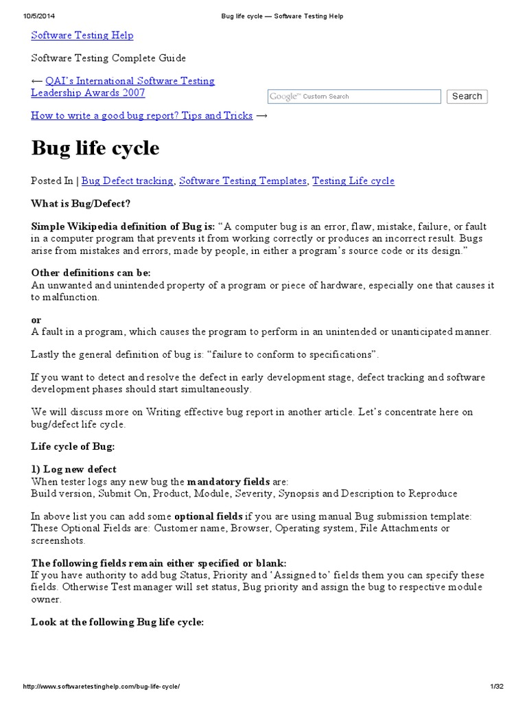 Bug Life Cycle — Software Testing Help  Software Bug  Software