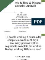 Time & Work & Time & Distance in Quantitative Aptitude