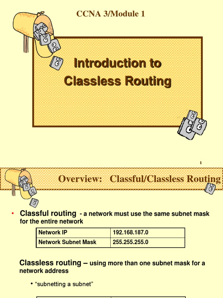 Classless-Rtg-Ppt | Ip Address | Routing