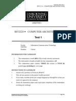 BIT2223-Computer Architecture -Test 1-September 2014