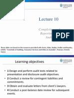 Lecture 10 Audit finalisation
