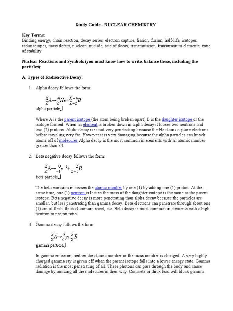 worksheet Nuclear Radiation Worksheet study guide nuclear chemistry radioactive decay neutron