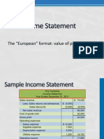 Value of Production Income Statements