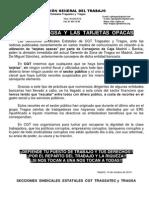 Comunicado Secciones Estatales CGT Tragsa por las tarjetas opacas
