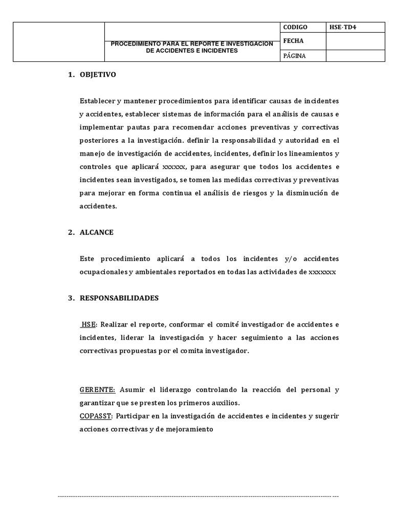 procedimiento para el reporte e investigacion de inccidente y ...