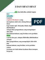Definisi Dan Sifat Mekanika Fluida
